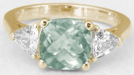 Green Amethyst Rings in 14k Yellow Gold
