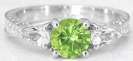 peridot and white sapphire ring in 14k white gold