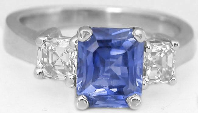 Ceylon Sapphire and Asscher Cut Diamond Ring (GR-5555)