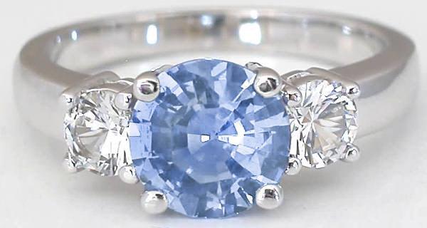 Ceylon Sapphire And White Sapphire Ring Gr 5689