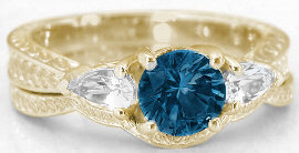 London Blue Topaz Three Stone Engagement Rings in 14k Gold