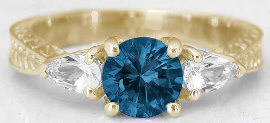 London Blue Topaz Three Stone Rings in 14k Gold