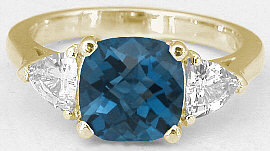 London Blue Topaz Ring in 14k Yellow Gold