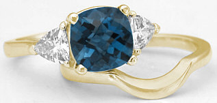 London Blue Topaz Engagement Ring in 14k Yellow Gold