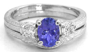Antique Tanzanite Engagement Ring with Engraving in 14k white gold