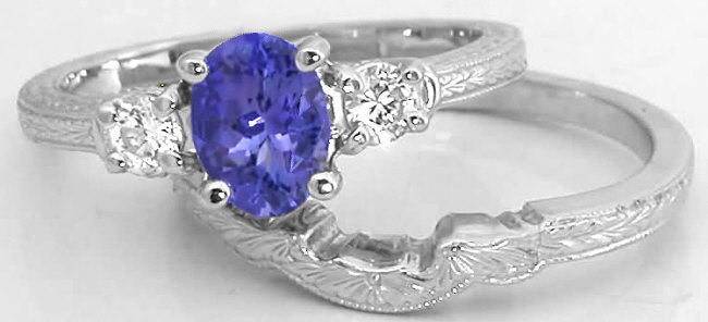 tanzanite engagement ring with engraved wedding band in 14k white gold gr 7075. Black Bedroom Furniture Sets. Home Design Ideas