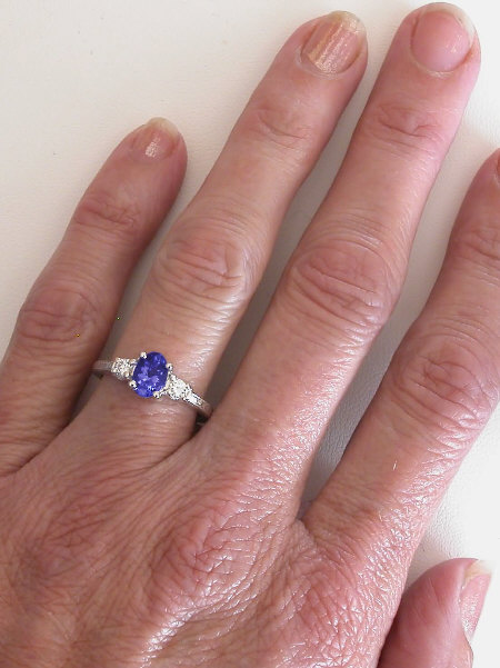 Tanzanite And Diamond Ring With Engraved Band In 14k White
