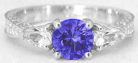 Tanzanite and Pear White Sapphire Ring in 14k White Gold