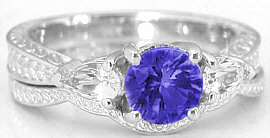 Tanzanite and Pear White Sapphire Wedding Ring in 14k
