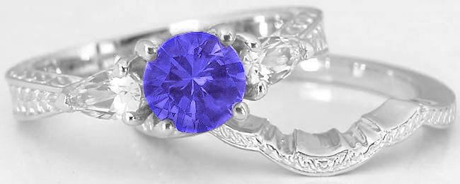 Tanzanite And Pear White Shire Wedding Ring In 14k With Band
