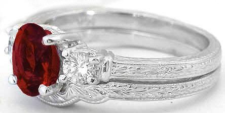 Vintage Garnet Engagement Ring And Matching Wedding Band
