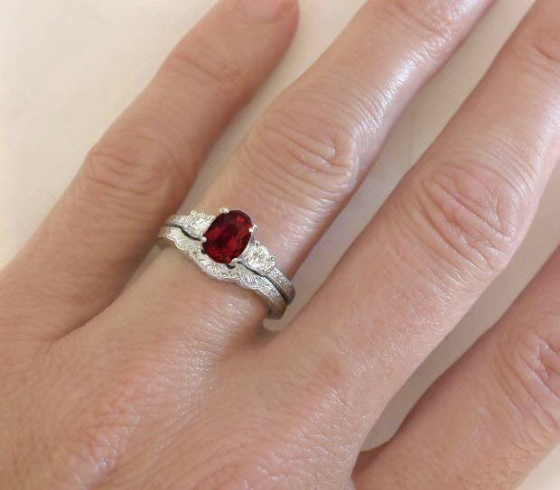 elegant and delicate garnet and white sapphire engagement ring - Garnet Wedding Ring