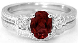 Oval Garnet and Round Diamond Engagement Ring with Engraving