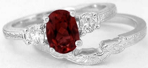 Garnet Engagement Ring and Wedding Band with Engraving in 14k