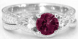 Rhodolite and White Sapphire Engagement Ring in 14k