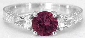 Rhodolite and White Sapphire Ring in 14k