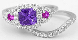 Engagement Ring with Amethyst Pink Sapphire Diamonds in 14k