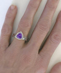 Engagement Ring and Band with Trillion Amethyst