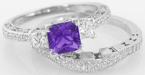 Princess Cut Amethyst And Diamond Engagement Ring And