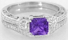 Princess Cut Amethyst and Princess Cut Diamond Engagement Rings