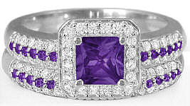 Amethyst Wedding Set with Princess Cut Gemstone