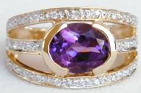 Amethyst and Three Row Diamond Ring in 14k yellow gold