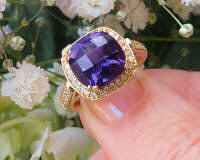 Cushion Cut Amethyst Ring with Real Diamond Halo in solid 14k yellow gold