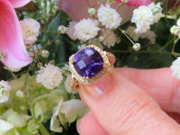 Cushion Cut Amethyst Engagement Ring with Real Diamond Halo in solid 14k yellow gold for sale