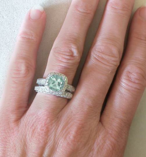 antique green amethyst diamond engagement ring and matching wedding ring - Green Wedding Rings