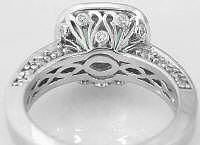 Cushion Cut Prasiolite Engagement Ring with Ornate Filigree Gallery and Diamond Accents