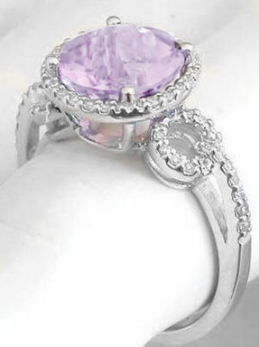 Checkerboard Faceted Light Amethyst And Diamond Halo
