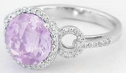 Light Purple Amethyst And Diamond Ring In 14k White Gold