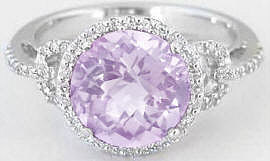 Light Pink Amethyst and Diamond Halo Engagement Ring