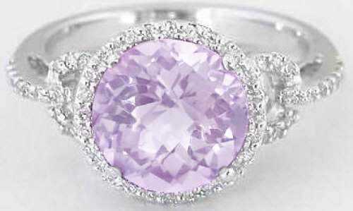 Light Purple Amethyst Diamond Ring White Gold
