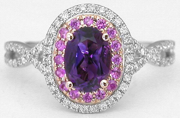 amethyst pink sapphire rings - Amethyst Wedding Rings
