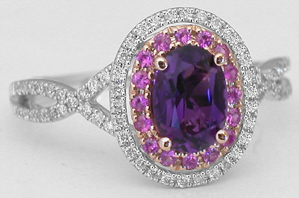 Unique Amethyst Pink Sapphire Diamond Halo Engagement Ring