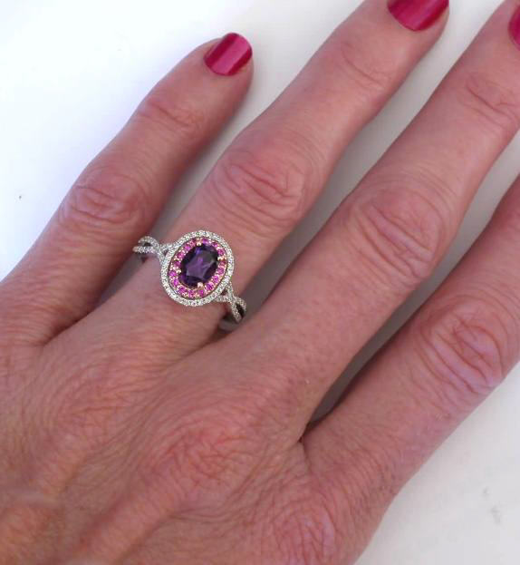 Amethyst Pink Sapphire Diamond Ring In 14k White And Rose
