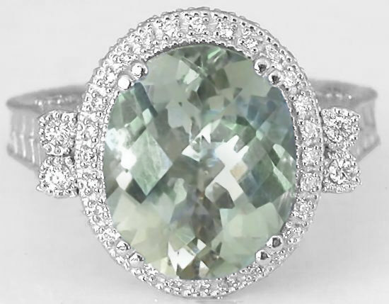 Unique Oval Prasiolite And Diamond Halo Ring With