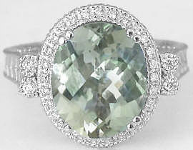 Green Amethyst and Diamond Engagement Ring in 14k white gold