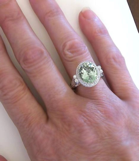 Unique Oval Green Amethyst And Diamond Halo Ring With. Idea Rings. Light Blue Rings. Food Wedding Rings. Ursula Wedding Rings. Geode Rings. Moti Wedding Rings. Retro Mens Wedding Wedding Rings. Ribbon Rings