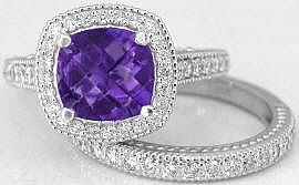 Cushion Cut Amethyst Engagement Ring with Matching Band