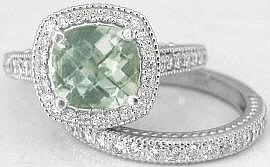 Green Amethyst Engagement Rings in White Gold