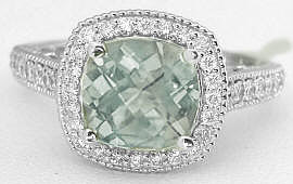 Green Amethyst Rings in White Gold