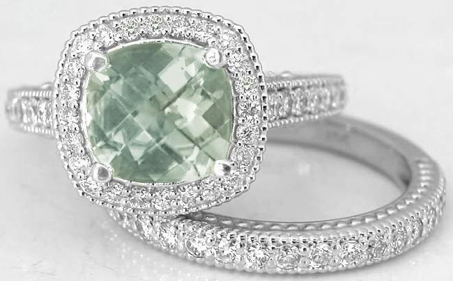 Cushion Cut Prasiolite Diamond Halo Engagement Ring And