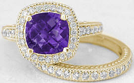 Amethyst Diamond Halo Engagement Ring in 14k