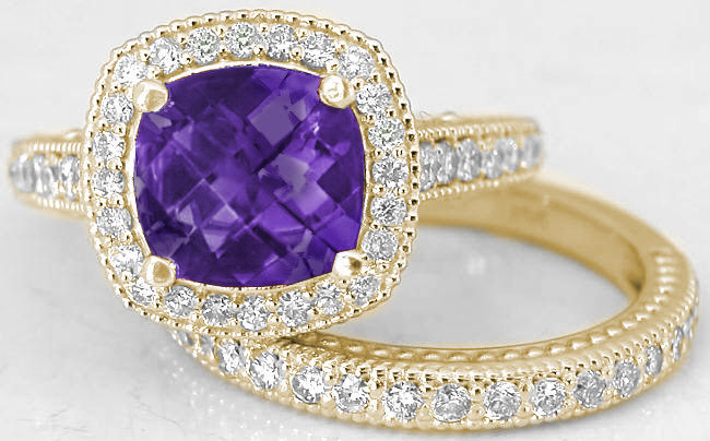 Cushion Cut Amethyst Diamond Halo Engagement Ring and Matching