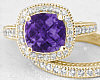 Cushion Amethyst Engagement Rings in 14k Yellow Gold