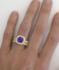 Amethyst Engagement Ring with Matching Band in 14k