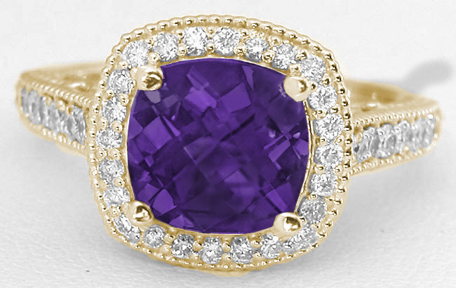 Cushion Amethyst And Diamond Halo Ring In 14k Yellow Gold
