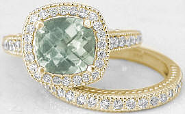 Green Amethyst Diamond Halo Wedding Set in 14k